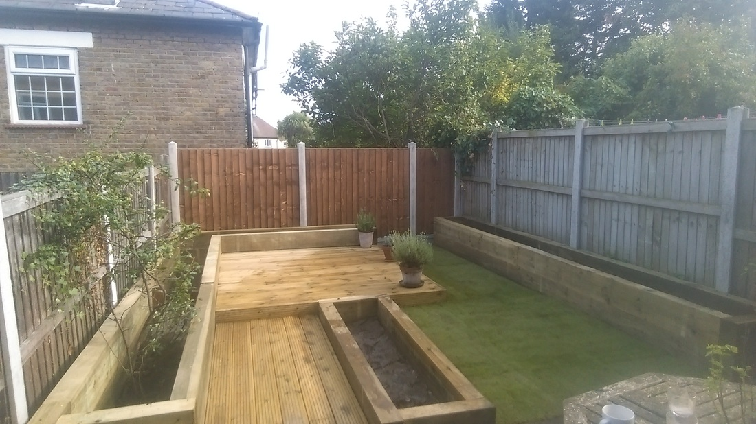 Delicieux The Customer Designed The Garden With Raised Sleeper Beds , Decking On Two  Levels U0026 A Small Lawn Was Laid.